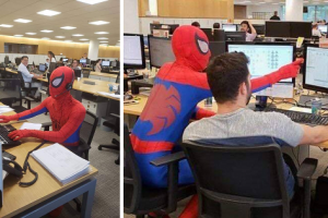 Bank Employee Shows Up to Last Day of Work Dressed as Spiderman