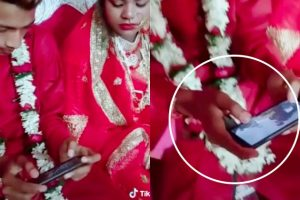 Groom Who Spent Wedding Ceremony Ignoring Bride to Play with Cellphone Earns Mixed Reactions