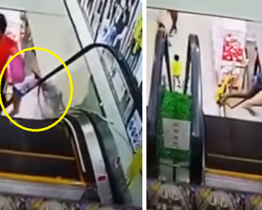 Girl Leaning Down the Side of Mall Escalator Nearly Breaks Neck, Video Goes Viral