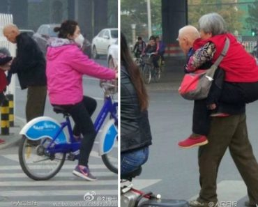 Old Man Goes Viral for Giving Tired Wife a Piggyback Ride in Busy Street
