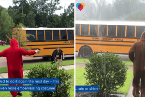 17-Year-Old Guy Pranks Brother with Hilarious Costumes at Bus Stop, Goes Viral