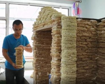 Excited Dad-To-Be Builds Unique Playhouse Using 2,000 Packs of Expired Instant Noodles
