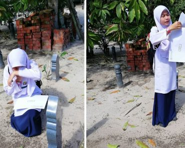 12-Year-Old Girl Breaks Hearts after Reading Grades at Mom's Grave