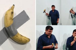 Hungry Guy Eats Banana from $120,000 Artwork Taped to a Wall, Angers Owner of Art Gallery