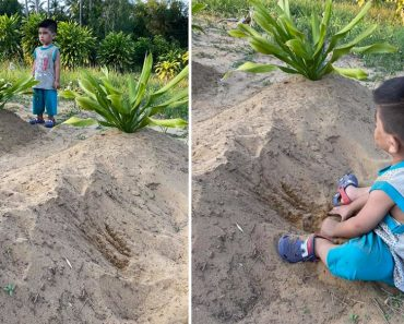 Little Boy Plays in Sand at Parents' Grave, Refuses to Go Home as He Calls Out to Them