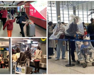 Amid Wuhan Outbreak, Travelers Spotted Wearing Huge Water Bottles and Plastic 'Shields'