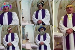 Priest Accidentally Uses Funny Filters While Celebrating Online Mass