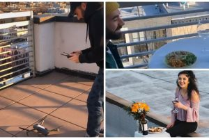 Guy Sends Number via Drone to Girl Dancing on the Roof, Unique 'Date' Goes Viral