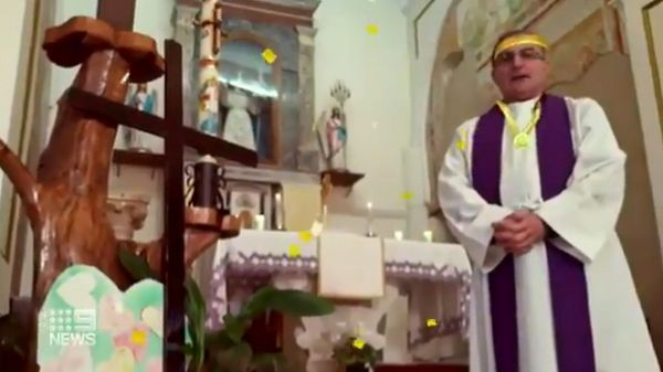 priest uses funny filters in mass