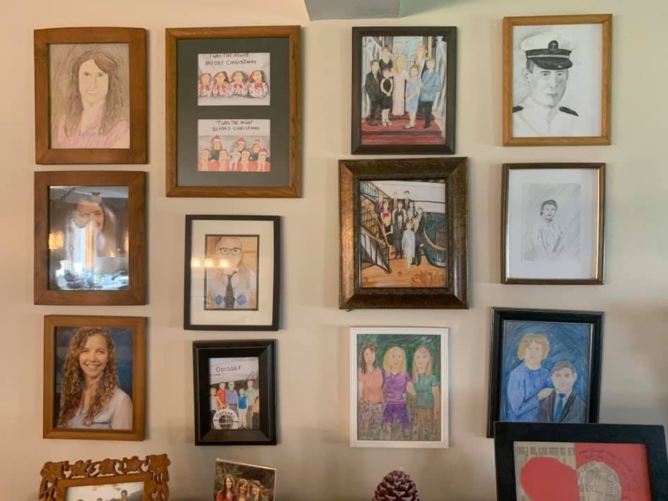 family photos with drawings