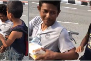 """Homeless Man to Son: """"Don't Take Too Much, Leave Some for Other People"""""""