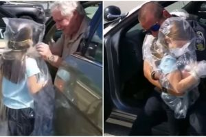 Grandfather Wraps Girl in Plastic, So She Can Hug Her Frontliner Dad