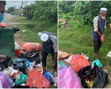 Heartbreaking Video Shows Old Man Rummaging Through Trash Bins for Food