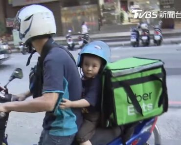 Single Dad Who Works as Uber Eats Rider, Brings His Son to Work
