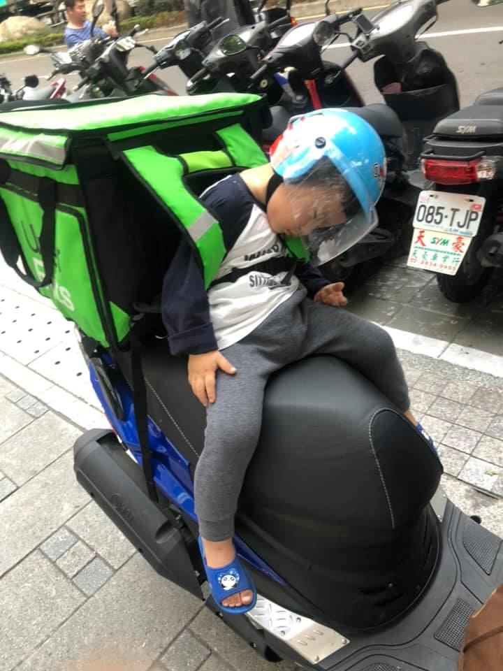 rider brings his son to work
