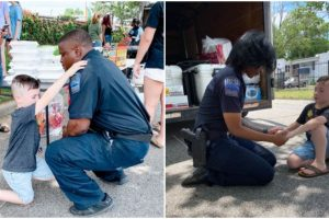 As Protests Continue in the US, 7-Year-Old Boy Goes Viral as He Prays with Cops
