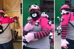 FoodPanda Rider Goes Viral for Wearing Adorable Panda Plushies While at Work