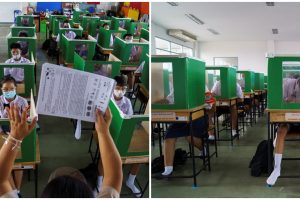 Thai School Repurposes Ballot Boxes, Creates Shields to Impose Social Distancing