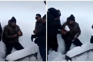 Soldier Gets 'Cake' Made of Snow for Birthday, Video Goes Viral