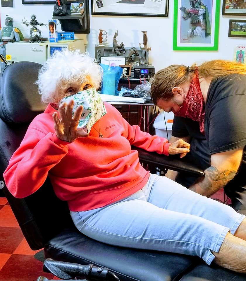 grandma gets tattoo