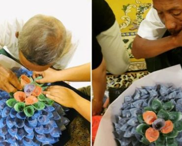 Dad Helps Daughter Make Money Bouquet, Didn't Know She's Preparing It as His Gift