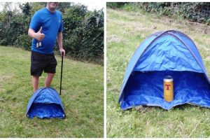 """Guy Goes Viral after Buying """"Two-Man Tent"""" That's Barely Big Enough for Two 6-Packs"""
