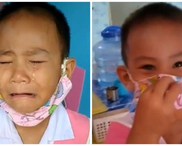 Little Boy Cries after 'Losing' Mask, But It is Actually Under His Chin