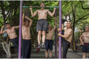 70-Year-Old Grandpas Wow with Ripped Bodies as They Work Out Public Park