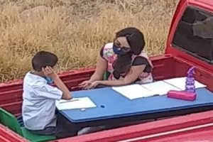 Teacher Drives Out to Students' Homes, Teaches Them at the Back of Her Own Truck