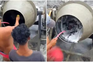 Construction Workers Had Fun Turning Cement Mixer into Washing Machine