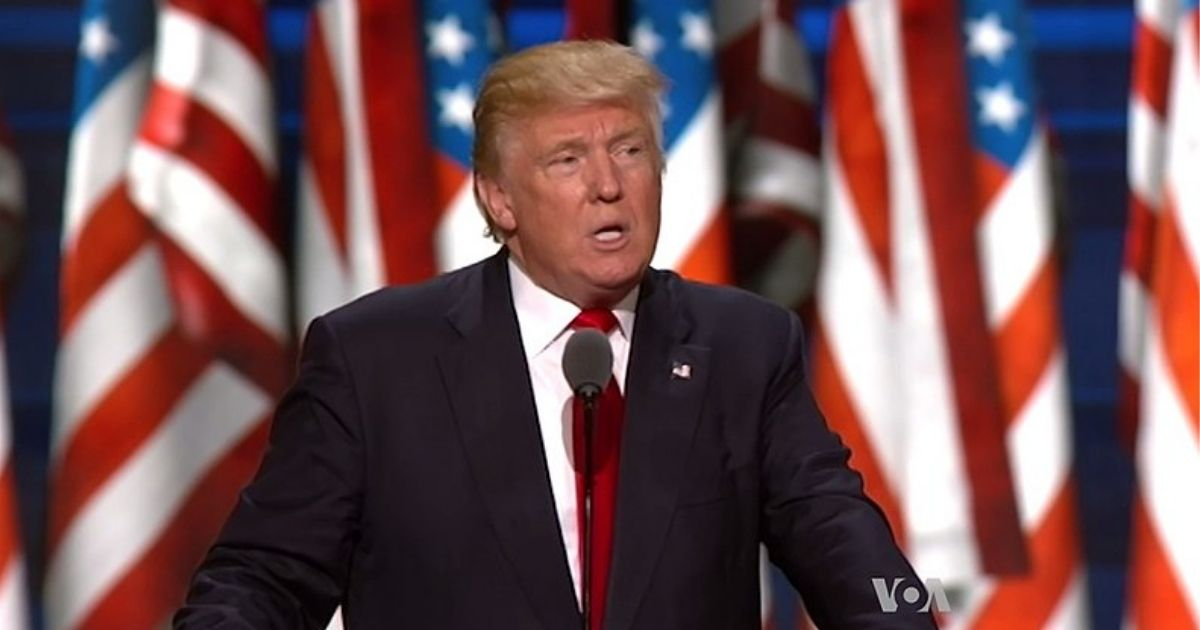 Former US President Donald Trump speaks at a Republican convention